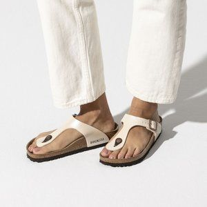 Birkenstock Gizeh Pearl White Birko-Flor Sandals